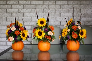 Pumpkin Flower arrangement small home big start